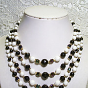 SALE Japan White Black 4-Strand A.B Glass Bead Necklace