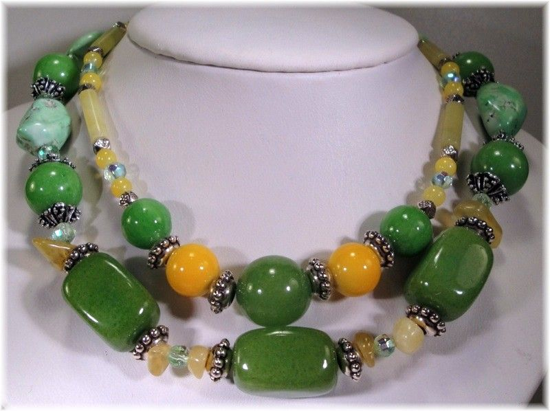Vintage Multi 2 Strand Green and  Yellow Glass Stone
