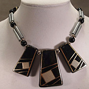 REDUCED Vintage Gray and  Black  Bead Necklace
