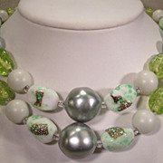 Lovely Vintage  Two Strand  Green Glass and Art Glass Bead Necklace