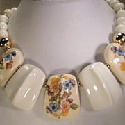 Vintage White Flower Drop Bib Necklace