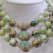 Lovely Vintage Multi 3 Strand Light Green Faux Pearl Bead Necklace