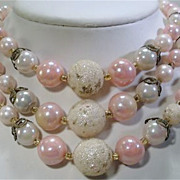 Lovely Vintage Multi 3 Strand Pink Bead Necklace