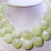 Pretty Vintage  Double Strand Light Green Bead Necklace.