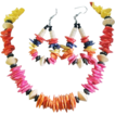 Vintage 70's Pink, Blue, Yellow, Red and Orange Wood Bead Necklace and Earring Set.