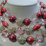Lovely Vintage Triple Strand Pink, Purplish Red and Silver-tone Bead Necklace.
