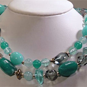 Lovely Vintage Green and Blue  Double Strand  Bead Necklace