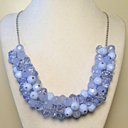 REDUCED Vintage Blue Cluster Bead Necklace