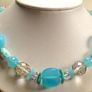 Vintage Aqua Light Blue Grey Glass  Crystal Bead Necklace