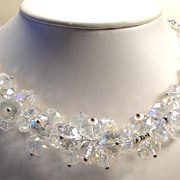 REDUCED Stunning Vintage Clear Glass Crystal Bead Necklace Set