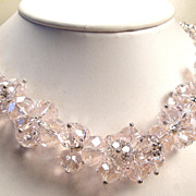 SALE Stunning Vintage Pink Glass Crystal Bead Necklace Set