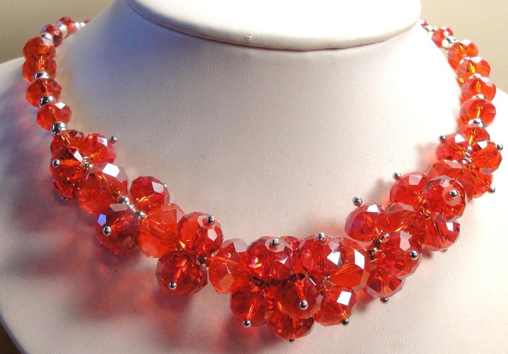 Stunning Vintage Glass Crystal Bead Necklace Set