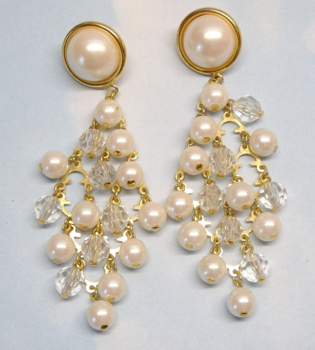 Vintage Faux Pearl and Crystal Goldtone Bead Chandelier Earrings