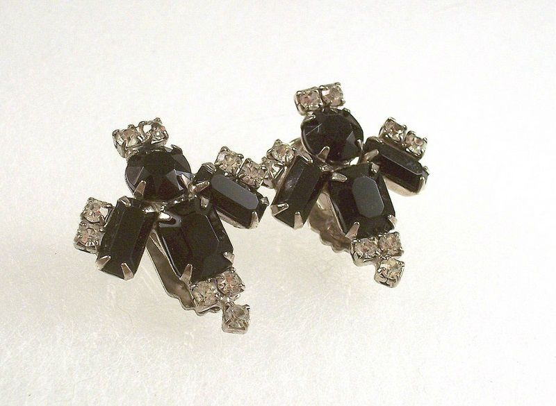 Vintage Black Clear Rhinestone Earrings