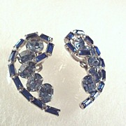 SALE Sparkling Vintage Blue Rhinestone Earrings