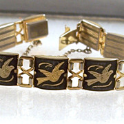 SALE Vintage Damascene Bracelet Birds