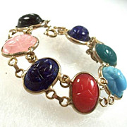 SALE Vintage Molded Glass Scarab Bracelet