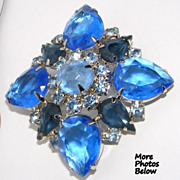 SALE Stunning Vintage Shades of Blue  Rhinestone Brooch