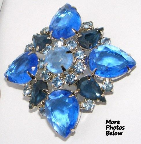 Stunning Vintage Shades of Blue  Rhinestone Brooch