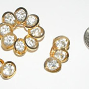 SALE Vintage JUDY LEE Clear Rhinestone Brooch Earrings Set