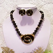 REDUCED Napier Monet~ Gold-tone Black Bead Enamel Necklace Set