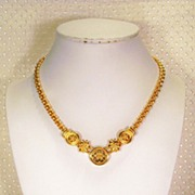 SALE Monet Gold-tone Flower Chain Necklace