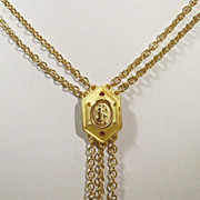 REDUCED Napier Two Chain Strand Amber Rhinestone Gold-tone Necklace