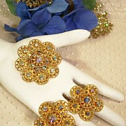 SALE Park Lane  Filigree Gold-tone Rhinestone Pin Earrings Set