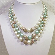SALE Japan-3-strand Green Pearl Splatter Bead Necklace