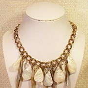 SALE Abalone Shell Gold-tone Bib Dangle Necklace
