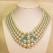 REDUCED Japan  4-Strand  Blue Glass Faux Pearl Crystal Necklace