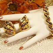 SALE Park Lane Gold-tone Hammered Bracelet Earring Set!