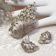 REDUCED Silvery Satin Large Rhinestone Pin Earring Set