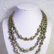 SALE Austria 3-Strand Glass Green Crystal Vintage Necklace