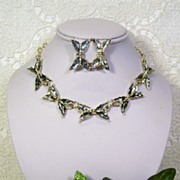 SALE Silvery Grey Black Enamel Bow Necklace Earring Set