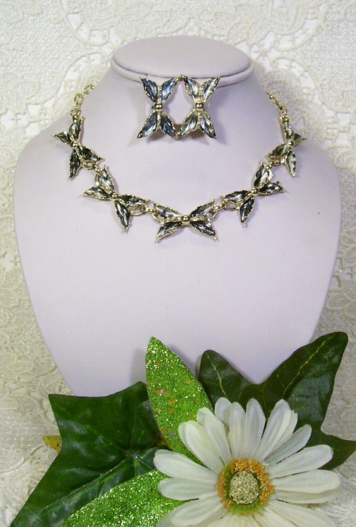Silvery Grey Black Enamel Bow Necklace Earring Set
