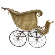 American Victorian Antique Wicker Baby Buggy Carriage!