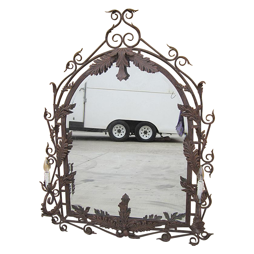 Vintage Iron Beveled Wall Mirror with Iron Sconces!