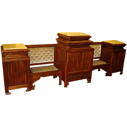 Spectacular German Carved Walnut Cabinet / Settee  / Sofa / Console / Parlor Set!