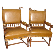 Pair of Spanish Antique Leather Chairs Armchairs Antique Furniture