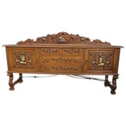 Spanish Antique Sideboard  Polychrome Buffet Antique Furniture