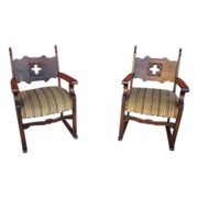 Pair of Spanish Antique Chairs Armchairs Antique Furniture