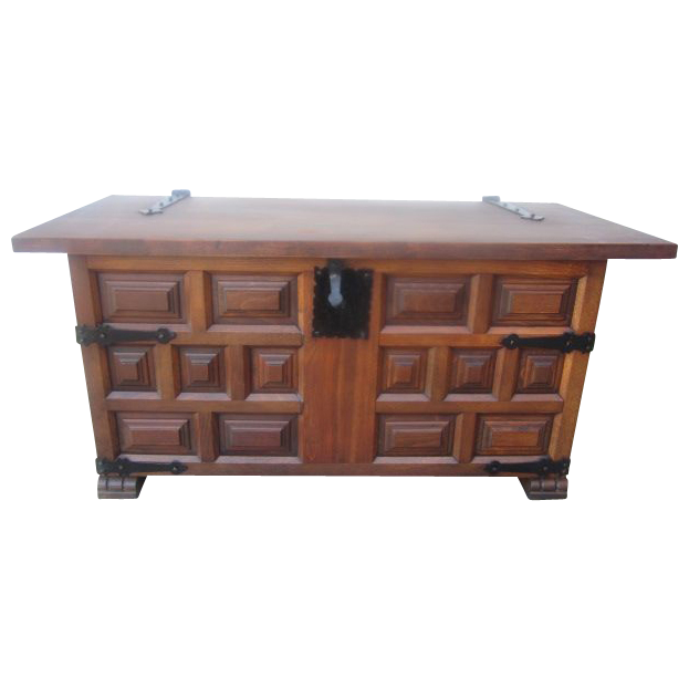 Spanish Antique Chest Trunk Bench Antique Furniture from