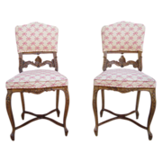 Antique Furniture French Antique Carved Side Chairs!