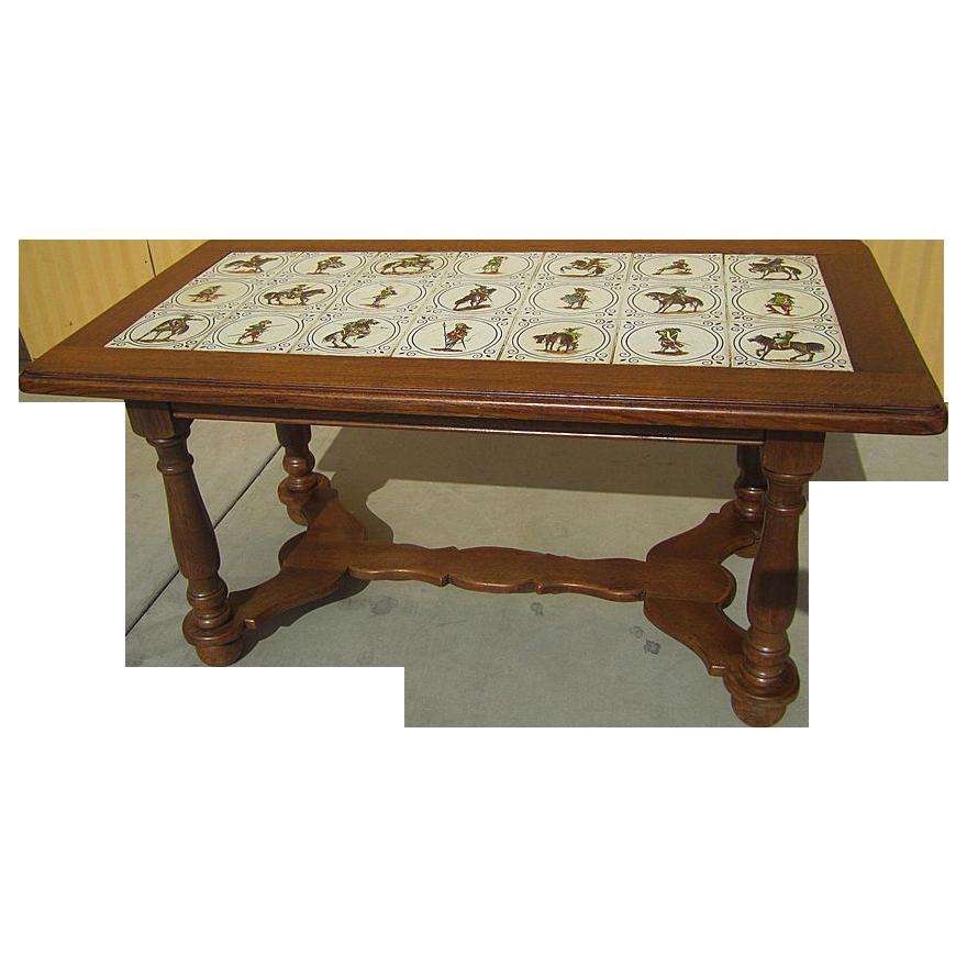 Antique Furniture Charming French Antique Tile Top Oak