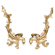 Beautiful Pair of French Brass Chenets Andirons!