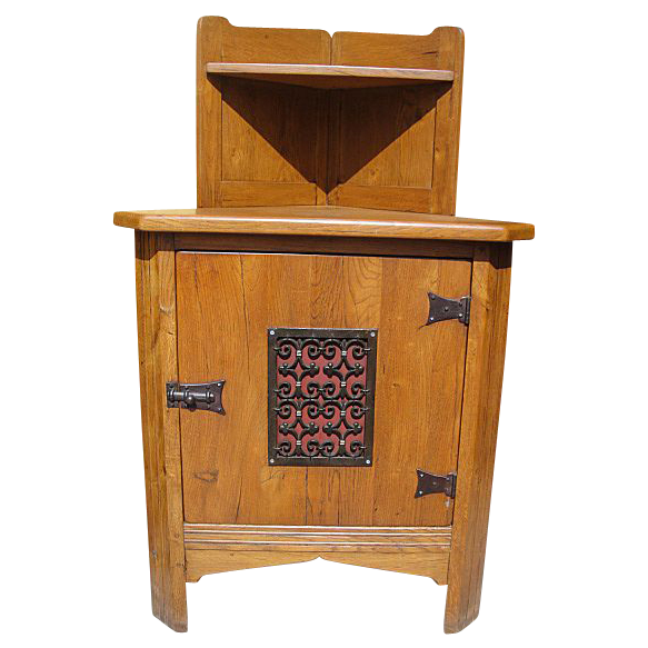 Antique Furniture Spanish Antique Oak Corner Cabinet with Iron ...
