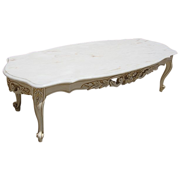 Elegant Vintage Painted French Style Marble Top Coffee Table Shabby Chic!