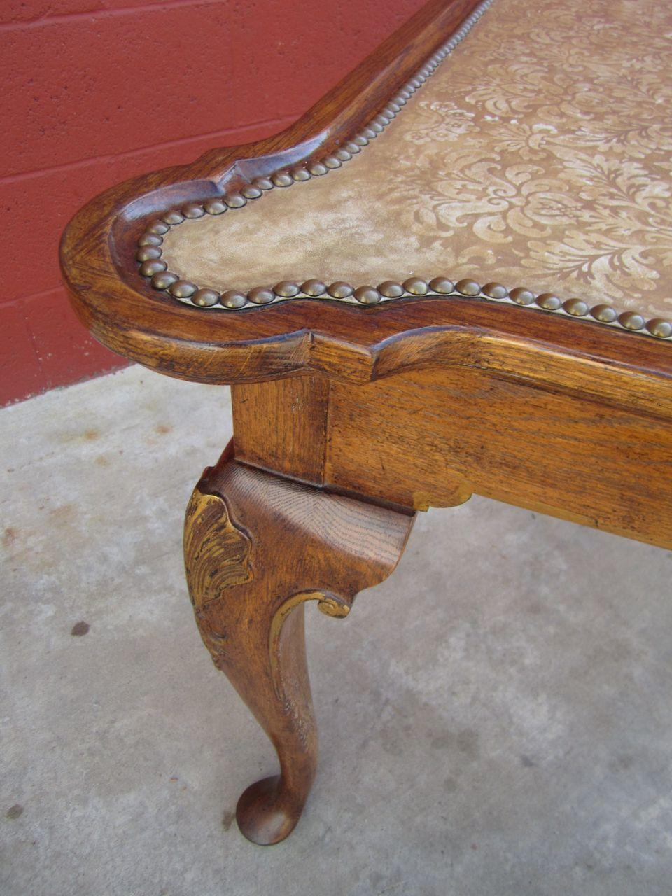 Antique Leather Top Game Table Antique Furniture from ...