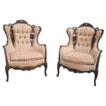 Pair of Vintage Carved Armchairs Chairs Wing Back Chairs